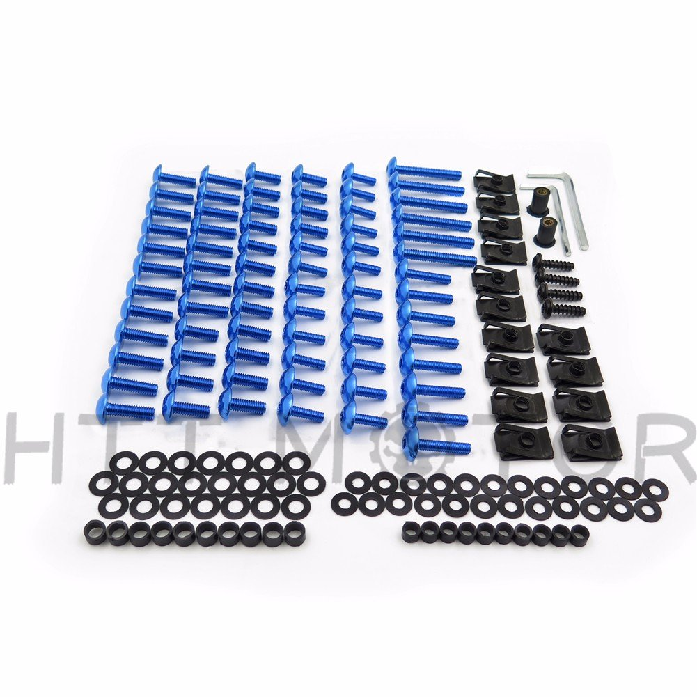 XKMT GROUP Motorcycle Blue Complete Round Socket Head Bolt Button Head Bolts Flange Bolts Nylon Removable Rivets Fuji-lock Nuts Fairing Bolts Windscreen Fasteners Kit For Yamaha Yzf R1 R6 F6R Fz1 Fz8