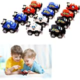 Race Cars 12 Pack Pull Back & Let Go Powered, Assorted Car Colors: Red, White, Blue and Black, 3-4 Inch Cars …