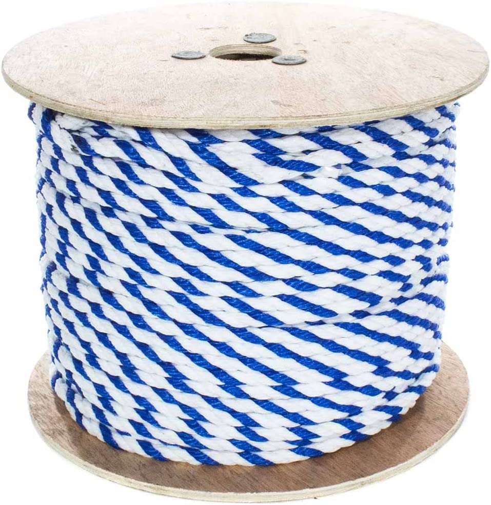 3 Strand Polypro Cord Pool Lanes 10-600 Feet Lengths, Blue and White West Coast Paracord Twisted Polypropylene Pool Rope 1//4-3//4 Inch Lightweight Utility Rope for Safety Lines