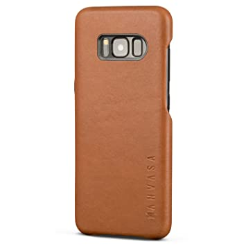 90e4450a41997 KANVASA Galaxy S8 Lederhülle Braun Skin Leder Case Ledertasche Luxus  Echtleder Cover für Original Samsung Galaxy