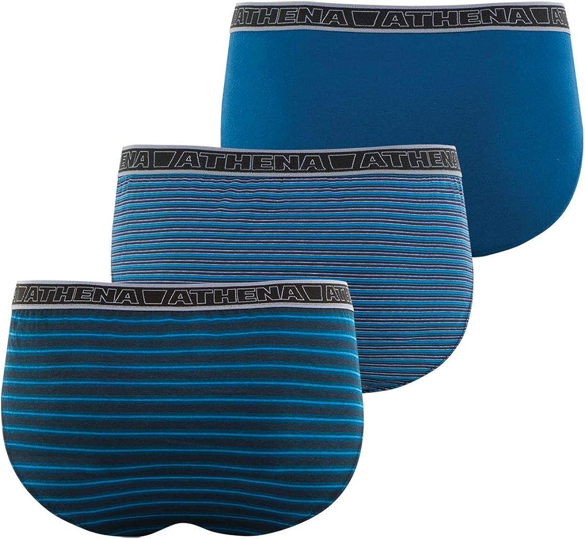 Lot de 3 Slips Homme Tonic Taille : 5 ATHENA Couleur : Grande Rayure Bleue-Fine Rayure Bleue-Uni Bleu