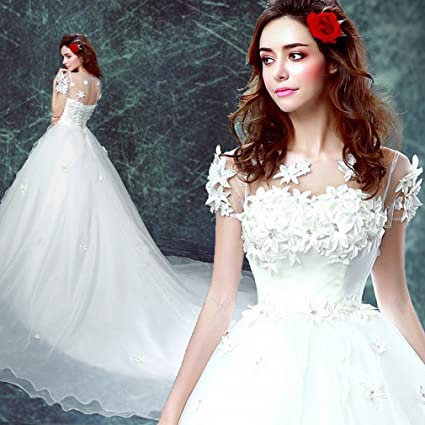 XC Novia Vestido de Novia de la Palabra Hombro de Cola Larga Vestido de Novia de