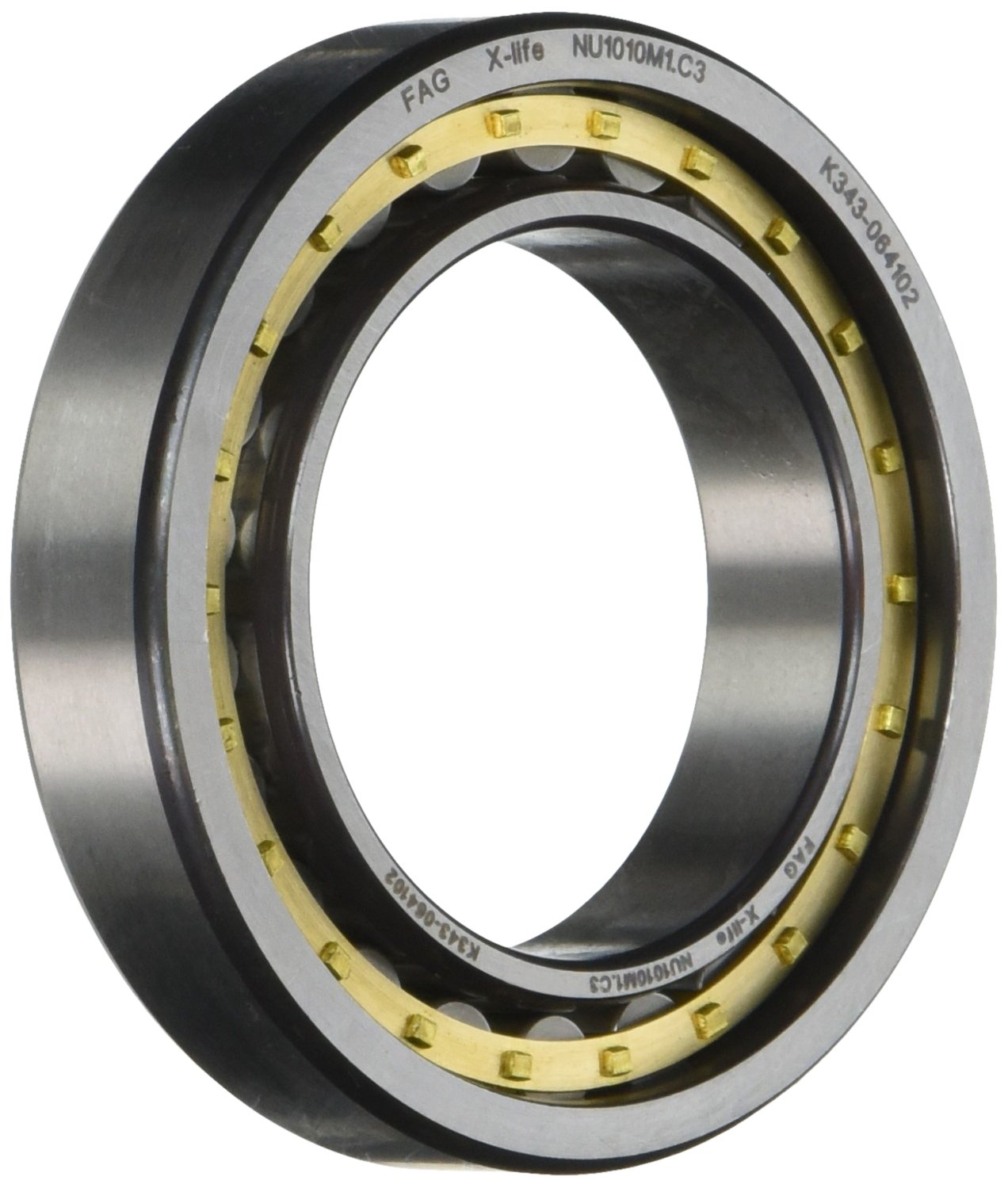 80mm OD Removable Inner Ring 16mm Width FAG NU1010M1-C3 Cylindrical Roller Bearing Straight Bore 50mm ID C3 Clearance Standard Capacity Brass Cage Single Row