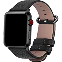 Fullmosa Compatible Apple Watch Band 38mm 40mm 42mm 44mm Calf Leather Compatible iWatch Band/Strap Compatible Apple Watch Series 5 Series 4 Series 3 Series 2 Series 1, 38mm 40mm Black+Gunmetal Buckle