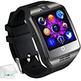 Bluetooth Smart Watch with Camera Support SIM Card Pedometer Fitness Tracker Wristwatch Men Women Boys Smartwatch Compatible with Android Smartphones Samsung Galaxy LG HTC Huawei Motorola Black