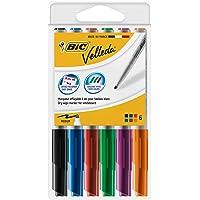 BIC Velleda 1741 - Rotuladores de pizarra blanca, punta media (4.5 mm), caja de 6 unidades, colores surtidos