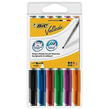 BIC Velleda 1741 Marcadores de Pizarra punta media - colores Surtidos, Caja de 6 unidades
