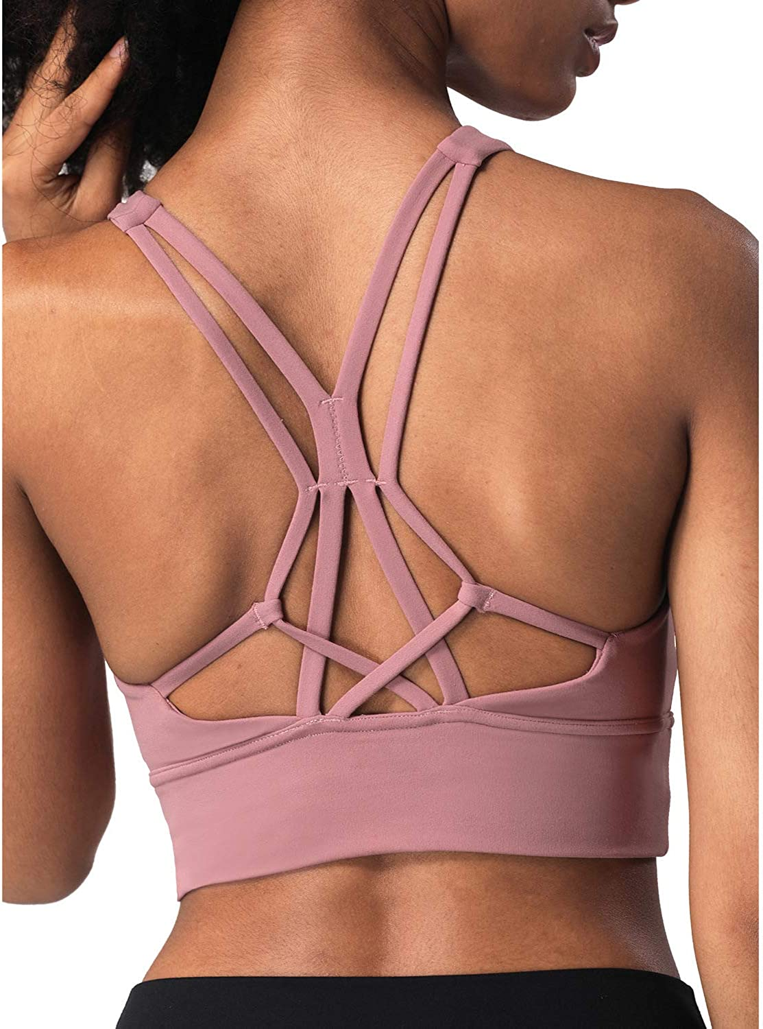 Lykoxa Sports Bras for Women Cross Back Strappy Padded Bras for Yoga Activewear with Removable Cups