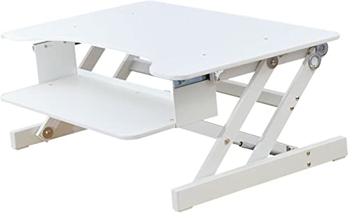 Rocelco 32 Height Adjustable Standing Desk Converter Sit Stand Up Desk Riser Computer Workstation Dual Monitor Gas Spring Retractable Keyboard Tray White R ADRW
