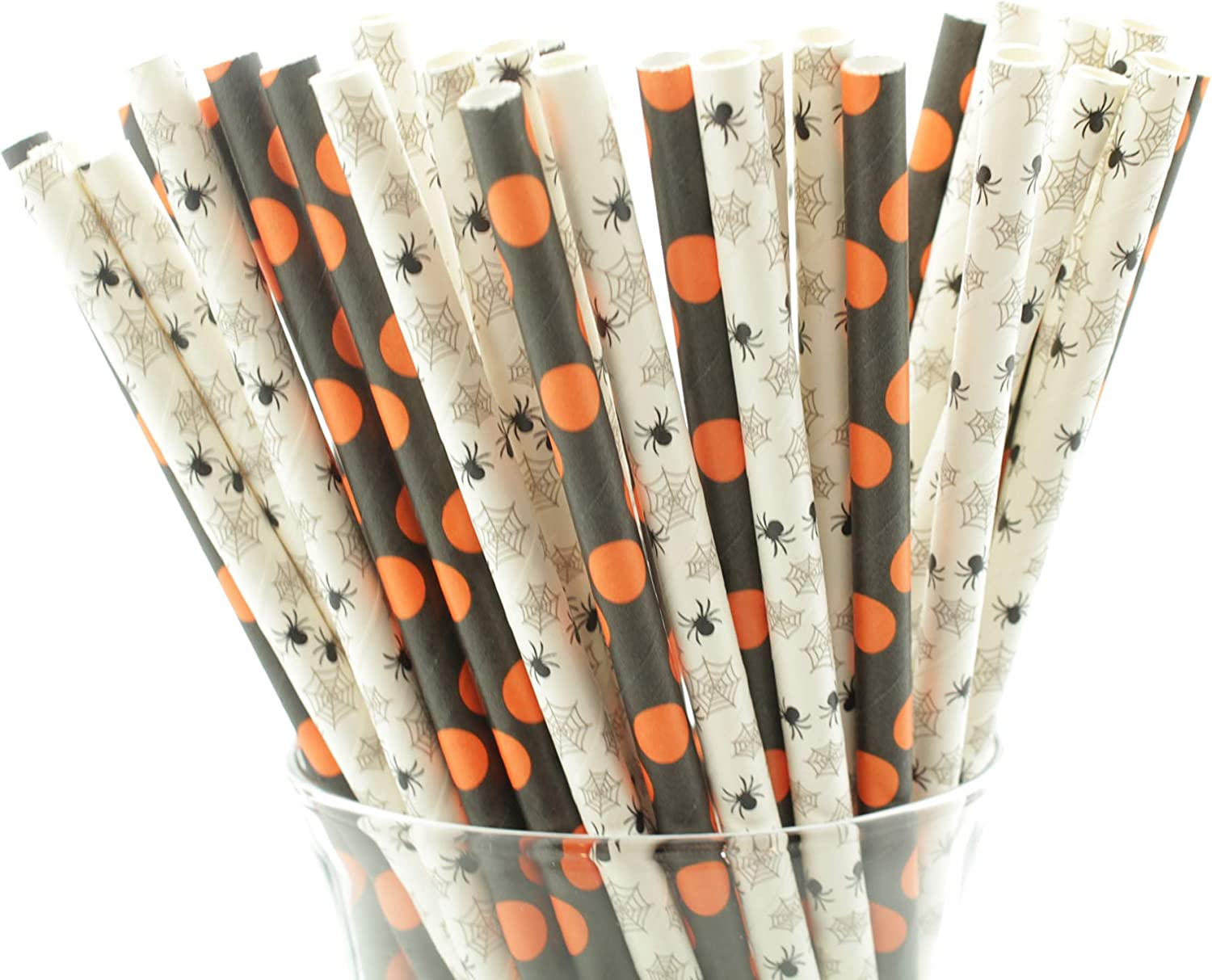 Halloween Spider and Dots Party Paper Straws | 50 Pack | Halloween Party Supplies and Decor | Black and Orange Premium Paper Straws