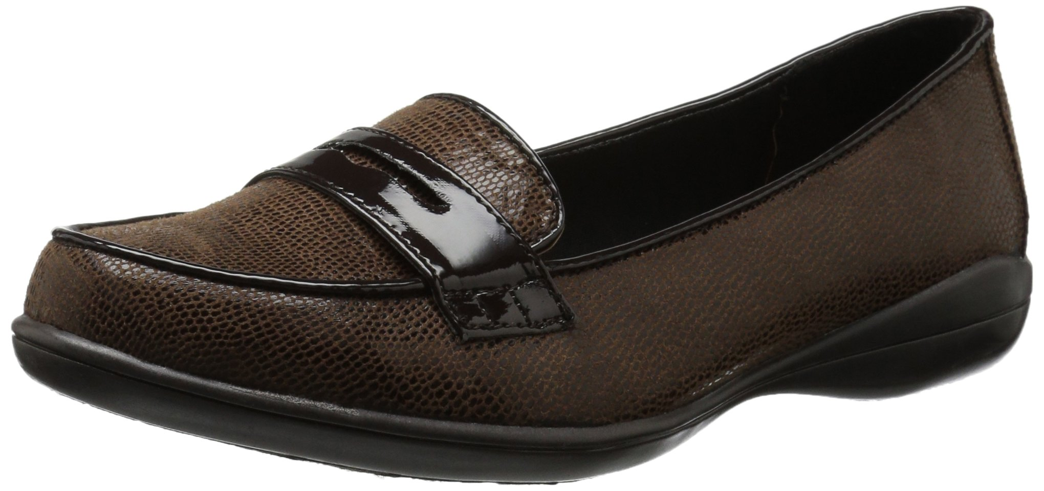 Soft Style by Hush Puppies Women's Daly Penny Loafer, Dark Brown Lizard/Patent, 8.5 W US
