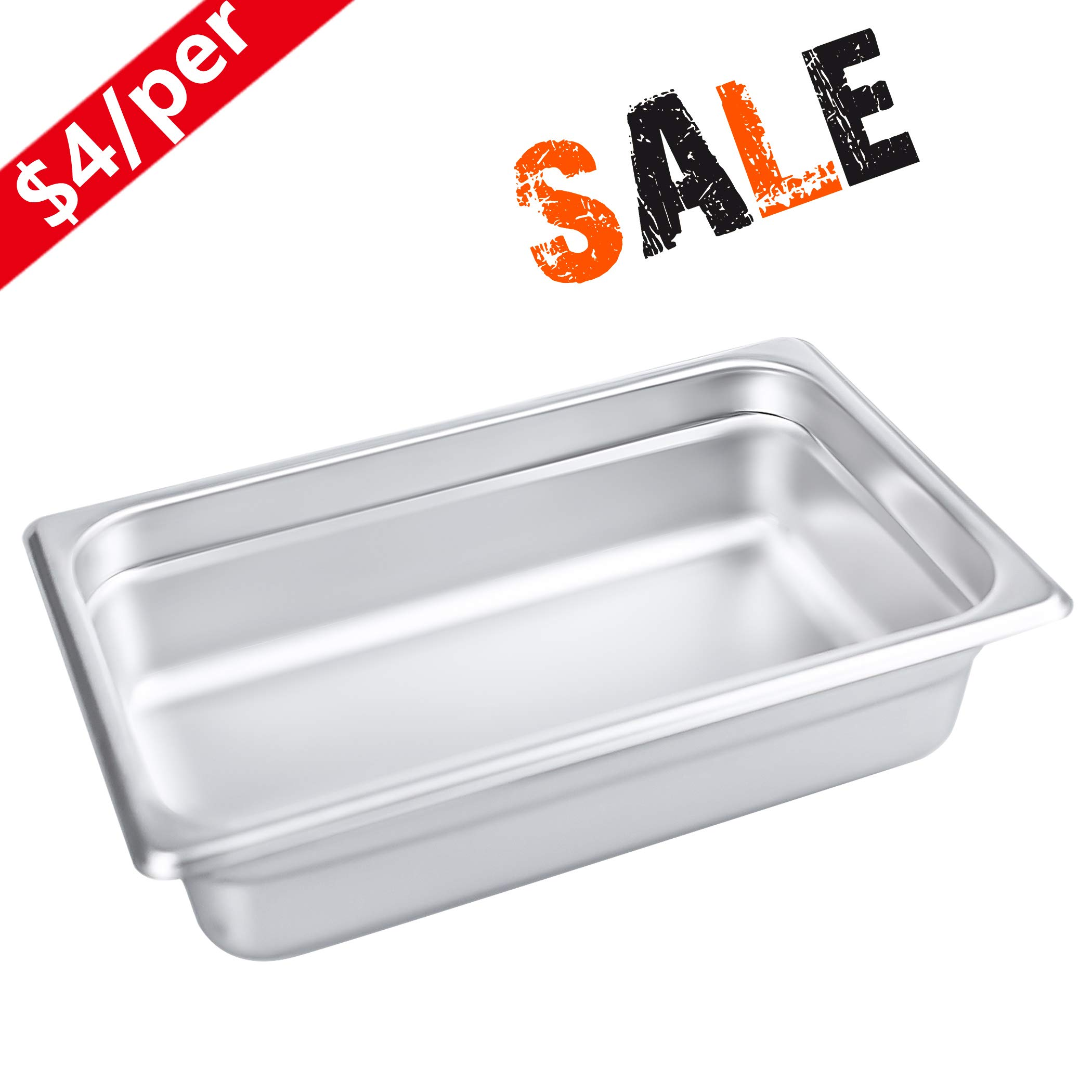 2 1/2'' Deep Steam Table Pan 1/4 Size, Kitma1.8 Quart Stainless Steel Anti-Jam Standard Weight Hotel GN Food Pans - NSF (10.43''L x 6.37''W) - 12 Pack by KITMA