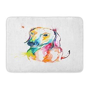 "Emvency Doormats Bath Rugs Outdoor/Indoor Door Mat Animal Dachshund Hand Watercolor of Dog Bassotto Companion Cute Dash Bathroom Decor Rug Bath Mat 16"" x 24"""