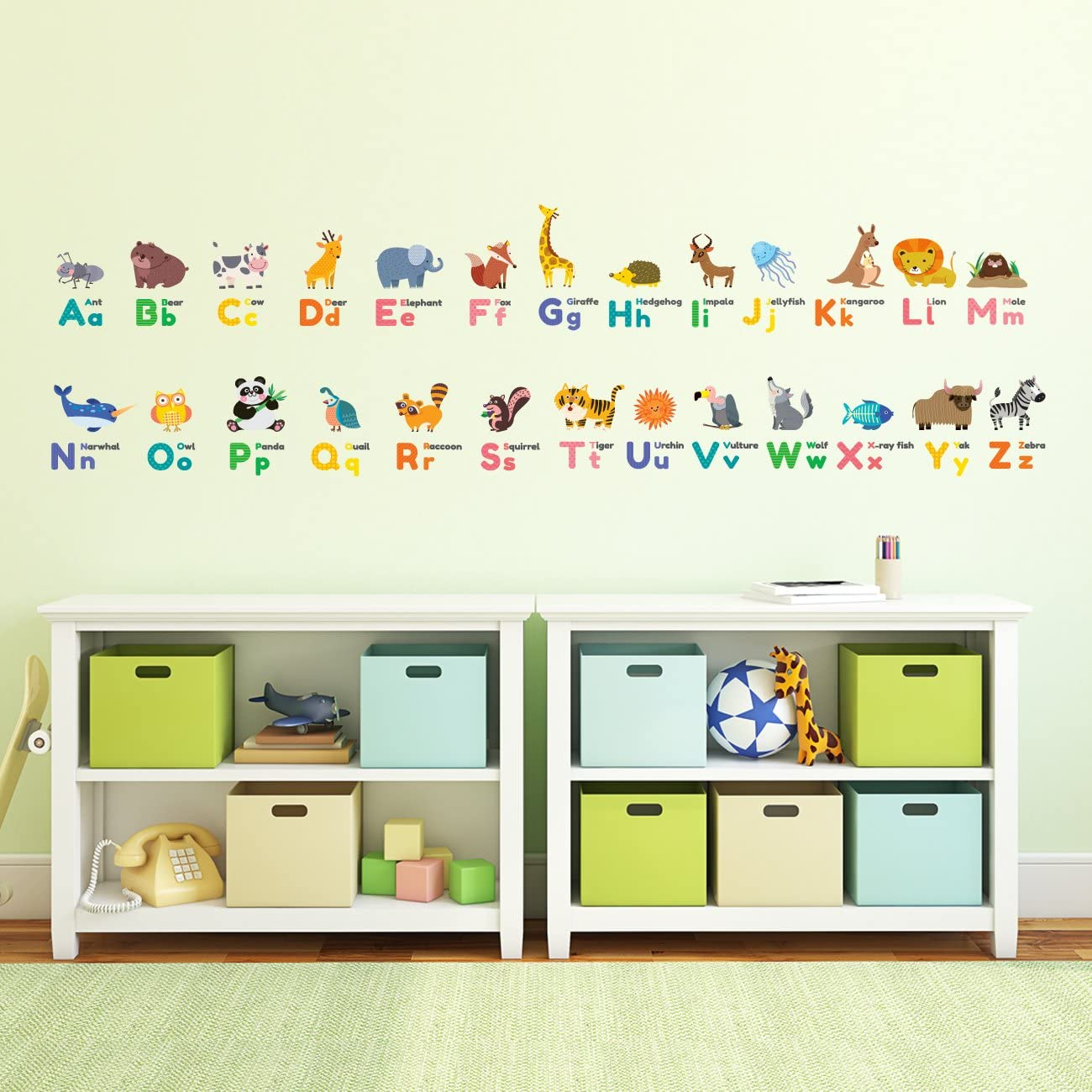 Decowall DS-8014 Colourful Animal Alphabet ABC Kids Wall Stickers Wall Decals Peel and Stick Removable Wall Stickers for Kids Nursery Bedroom Living Room Small