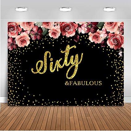 Mehofoto 60 y Fabuloso telón de Fondo de 8 x 6 pies con Rosas Rojas para decoración de cumpleaños, Lunares Dorados, Fondo Negro para fotografía, 60 ...