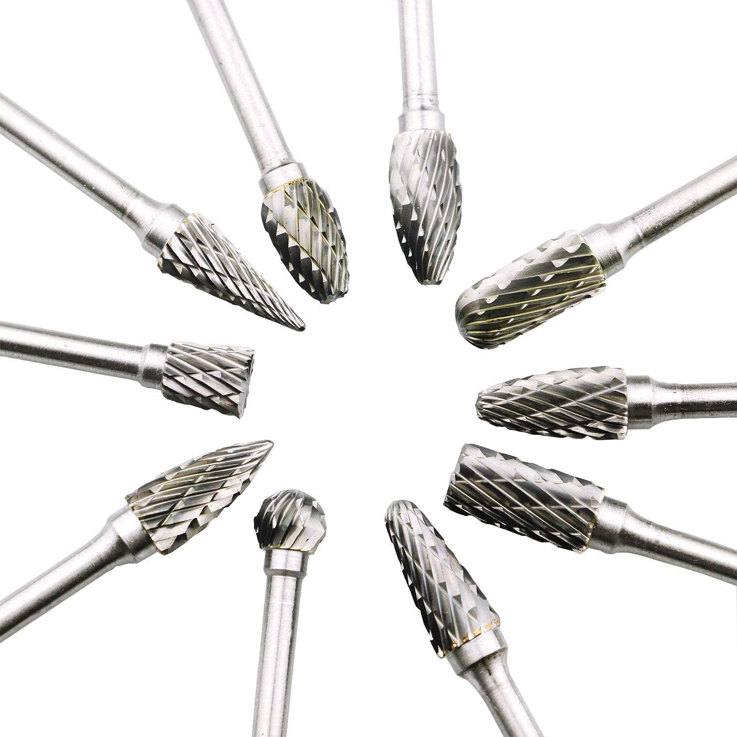 Wood-Working Carving Carbide Burr Set Tungsten Carbide burr drill Bit Set 10 Pcs Rotary Double Cut Carving Drill with 1//8In Shank and 1//4 In Head for Grinder Drill Metal Polishing,Drilling Etc