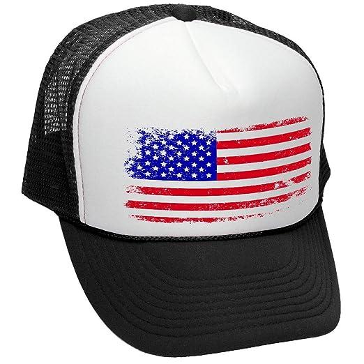 dec14de19b4c AMERICAN FLAG - 4th of july usa america patriotic Mesh Trucker Cap Hat,  Black