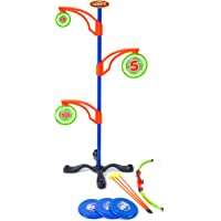 Sport Squad Precision Bullseye Juego de objetivos magnéticos para niños y niñas, accesorio ideal para la práctica de objetivos nerf – incluye arco y flecha para niños y discos voladores, juego de juguetes para tiro con arco para niños y niñas, multicolor, modelo: SSD1003