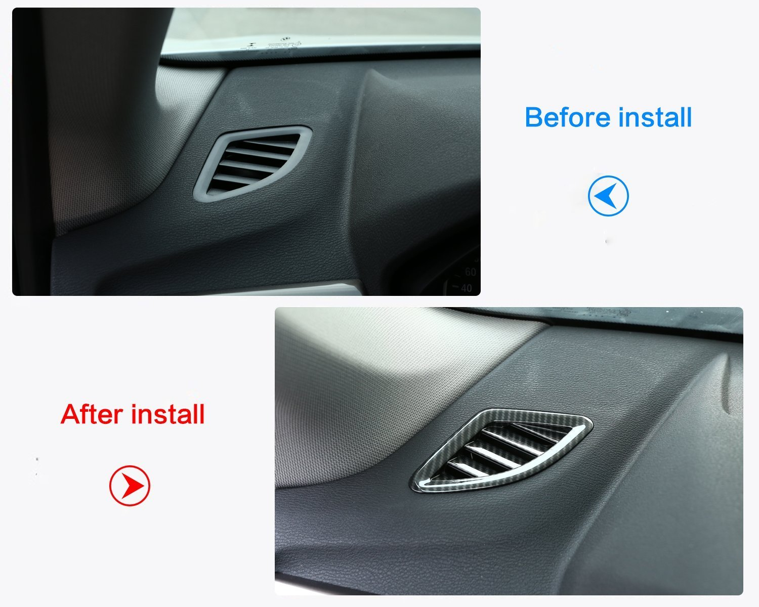 Carbon ABS Chrome Inside Decoration Side Dashboard AC Outlet Vent Frame Cover Trim Sticker Accessory For X1 F48 2016 2017 2018