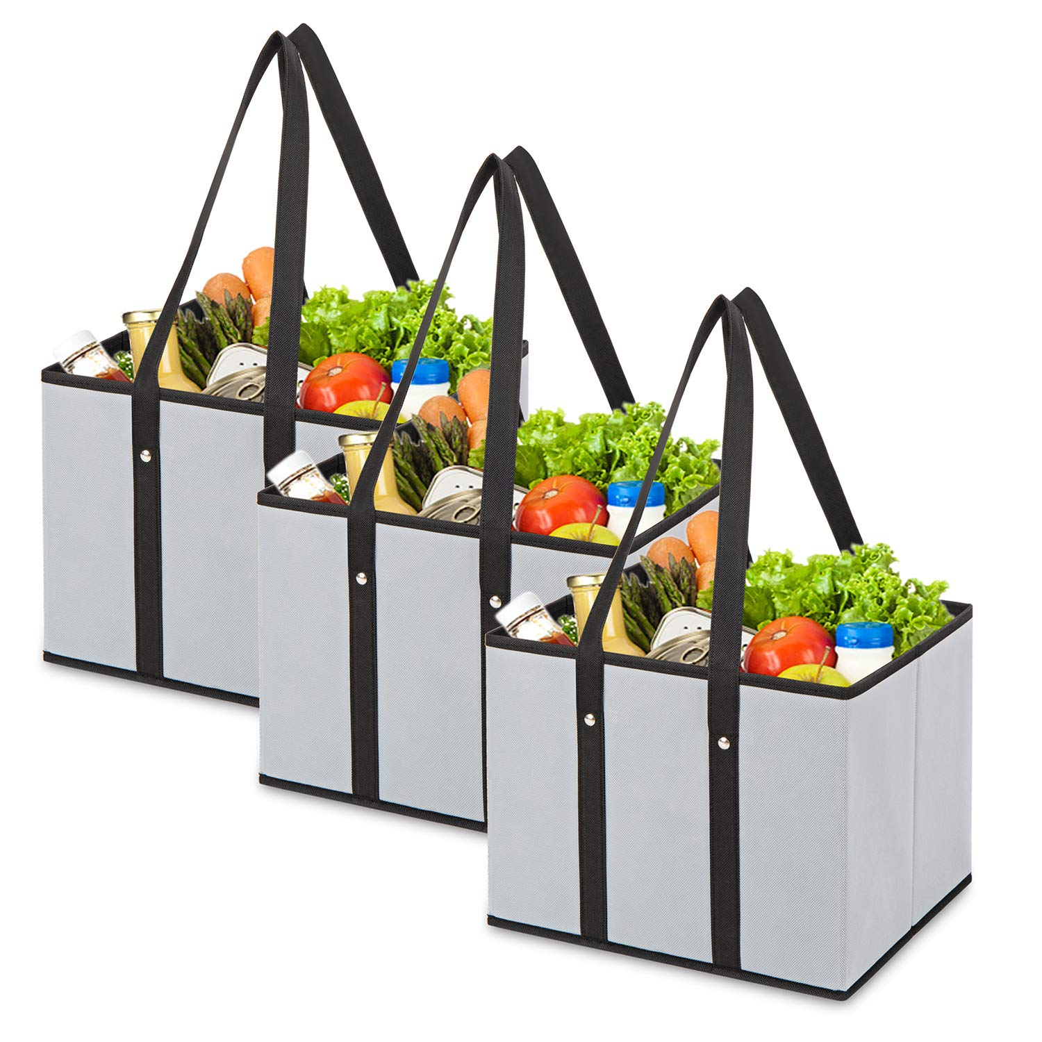 MaidMAX Reusable Grocery Bags, Collapsible Grocery Organizer with Reinforced Bottom, Foldable, Grey, Set of 3