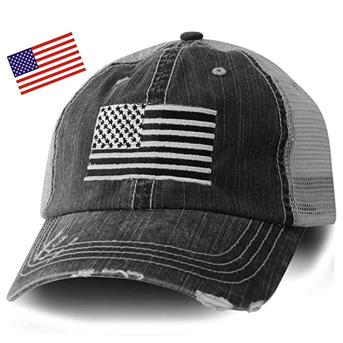 48aa29ca14431 Honor Country American Flag Distressed Black Trucker Cap- Free Flag Sticker