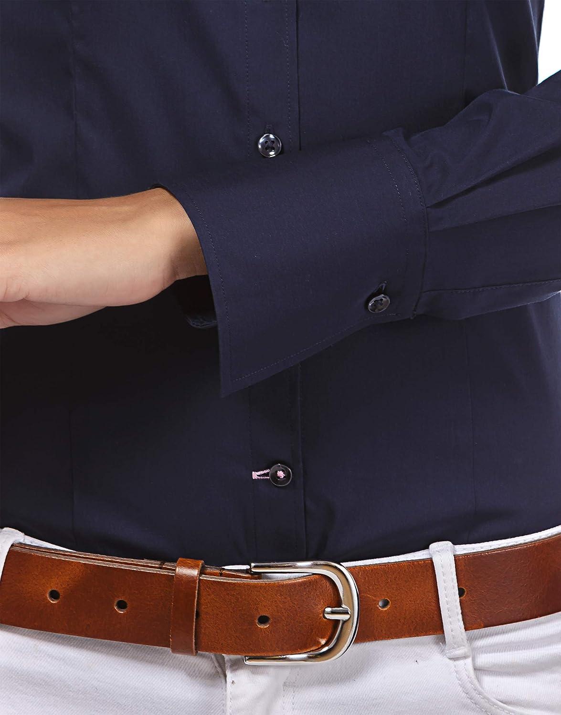 Collo Classico in Tinta Unita Vincenzo Boretti Camicia-Blusa Donna Elegante Easy Iron Facile da Stirare Taglio Aderente//Slim-Fit Elastica-Stretch Manica-Lunga