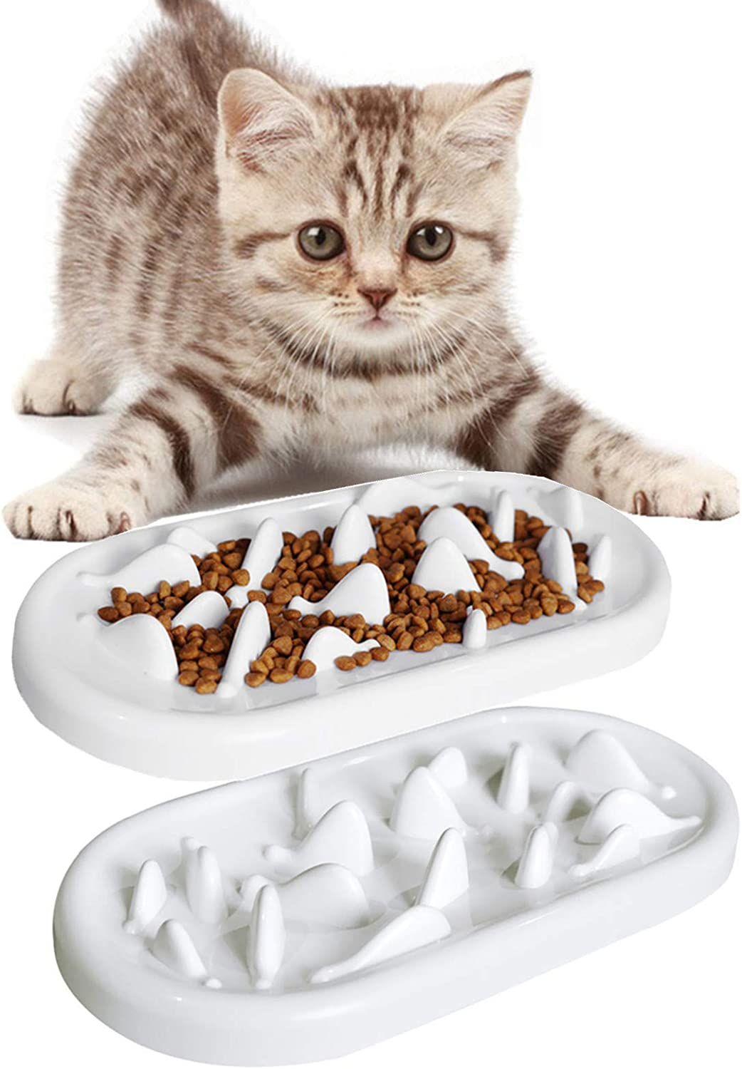 none branded 2 Pack Cat Slow Feeder Bowl,HICOMIE Pet Fun Interactive Slow Feeder Cat Bowl,Stress Free Pet Bowl Helps Stop Bloat Prevents Obesity Improves Digestion
