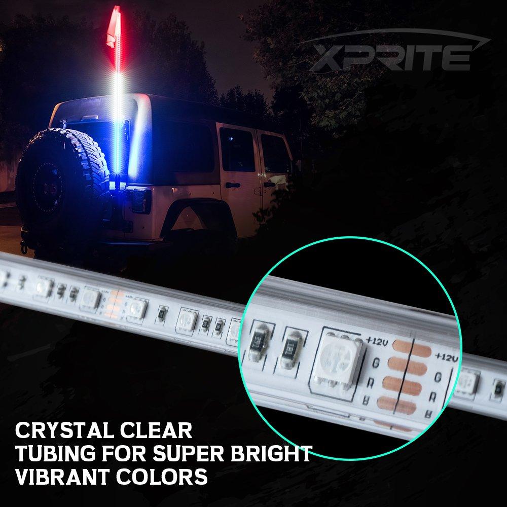 2PCS Xprite 4ft LED Whip Lights Flag Pole Remote RGB Colors for RZR ATV UTV
