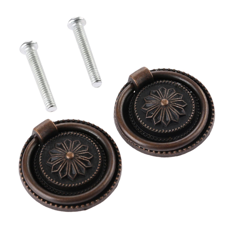 2Pcs 30mm Dia Vintage Cabinet Drawer Handle Knob Vintage Ring Pull Knob Handle for Cupboard Dresser Door Drawer, Antique Bronze Dophee