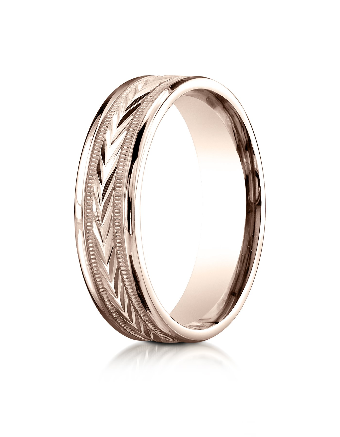 14k Rose Gold 6mm Comfort-Fit Harvest of Love Round Edge Carved Design Wedding Band Ring for Men & Women Size 4 to 15