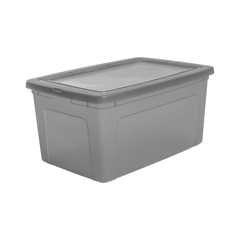 3 11 L Iris Ohyama Hip Hop Hamper EUHL 11L lote de 3 cajas de almacenamiento con tapa Modular Clear Box MCB 11 Pl/ástico gris 39,5 x 26,5 x 15,6 cm