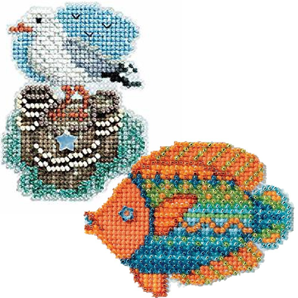 2 Kit Bundle Counted Glass Beads Fancy Fish and Seagull