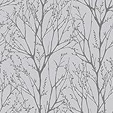 Shimmer Tree Wallpaper Soft Grey /  Silver (ILW980033)