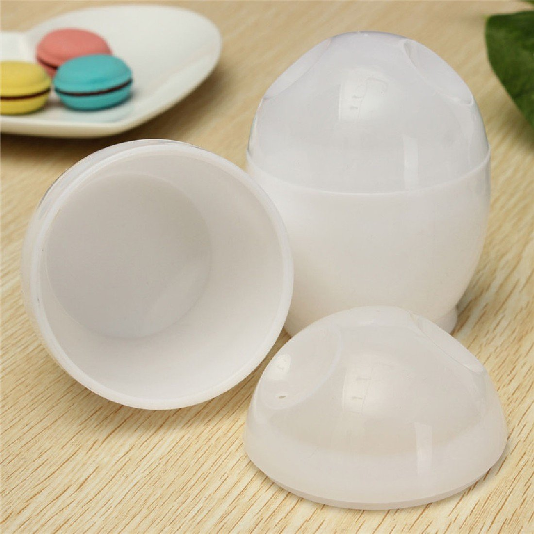 Hisuper-Store 2pcs White Microwave Egg Cookers//Boiler Cup with Removable Lids