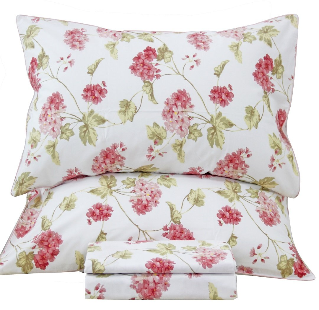 Queen's House French Country Floral Print Bed Sheet Linen Sets-King,F