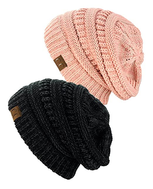 5393cc585a7 NYfashion101 Exclusive Unisex Two Tone Warm Cable Knit Thick Slouch ...
