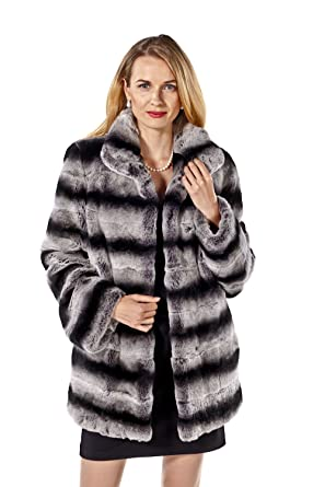 40fdb95c3ae Womens Chinchilla Rex Rabbit Real Fur Jacket Plus Size 18 - Wing Collar  Black