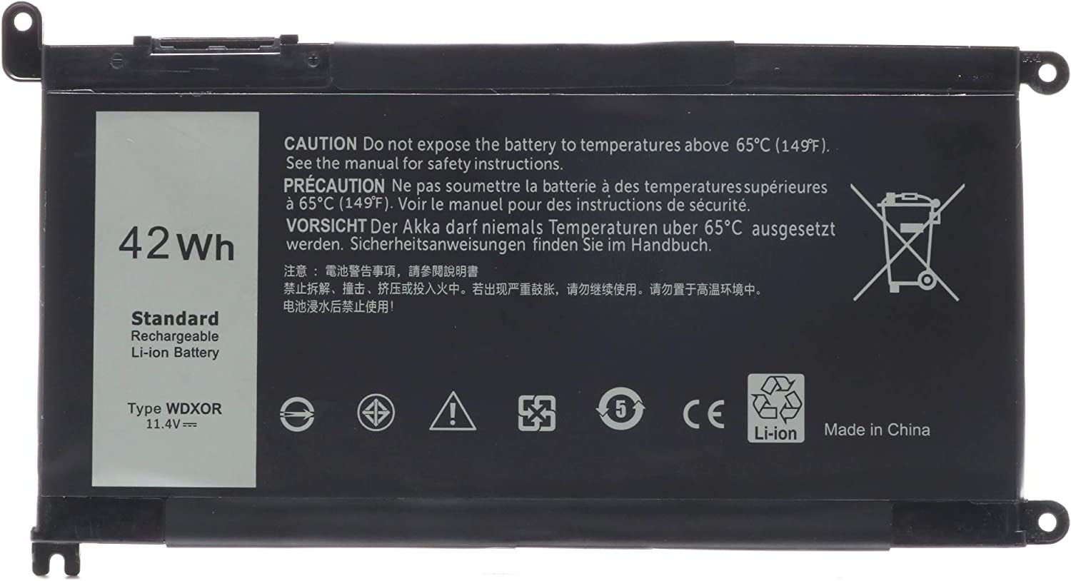 42WH WDXOR 11.4V Battery Replace for Dell Inspiron 13 7378 13 5000 5378 5368 15 7579 5567 5568 5578 7570 7569 Inspiron 5000 7000 17 5000 Series Laptop