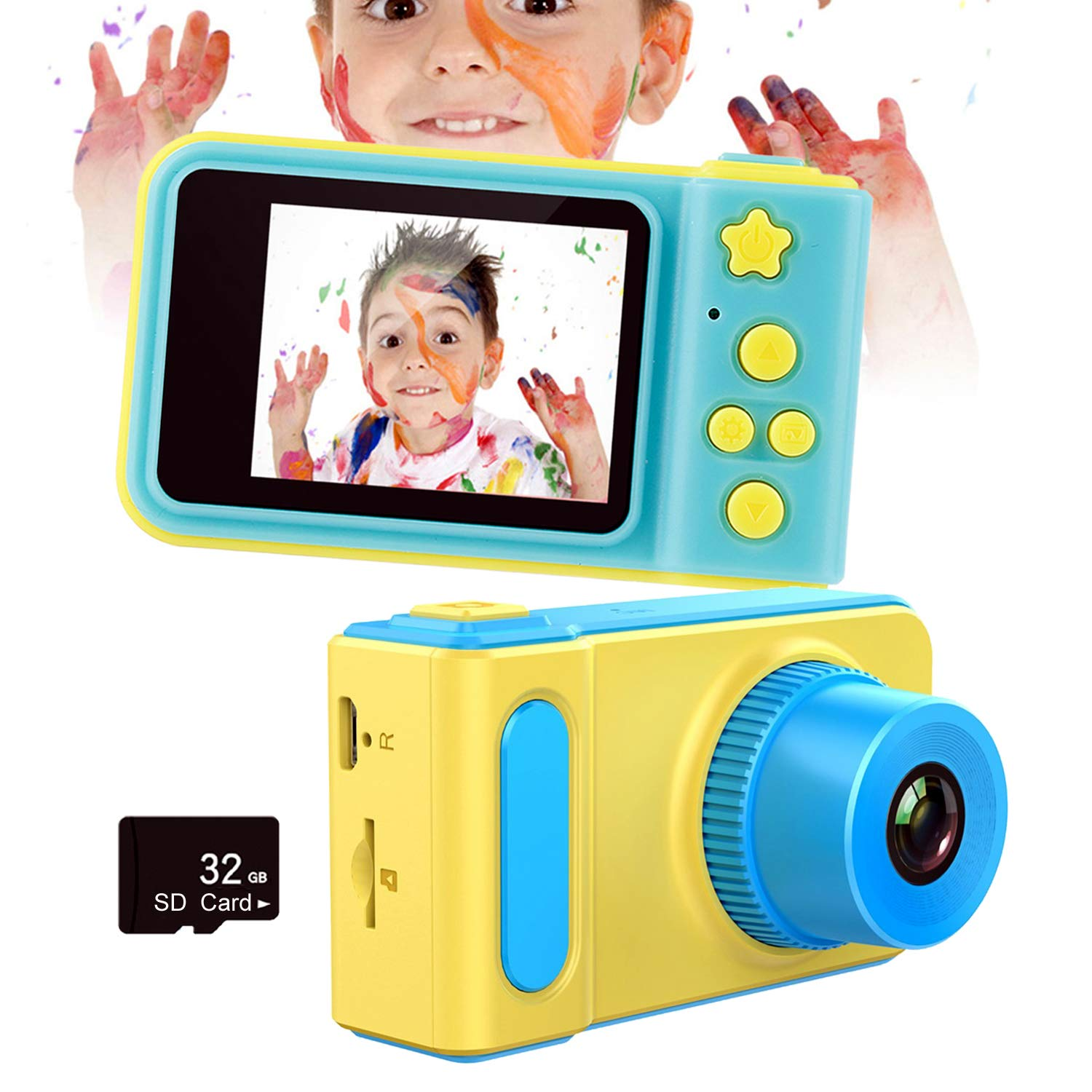 Mrocioa Kids Digital Camera with 32GB SD Card,Mini Camera Toys for Girls and Boys 3-8 Year Old,1080P HD Video Recorder,2'' LCD Screen,USB Rechargeable (Blue)