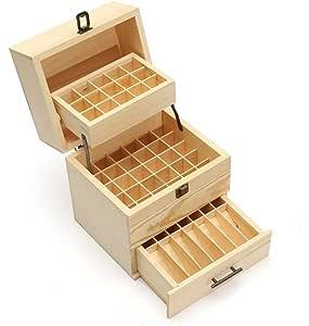 Caja de madera para fragancias de aceites esenciales con bandejas y compartimentos, capacidad para 45 botes de aceites esenciales y 14 botes para viajes: Amazon.es: Hogar