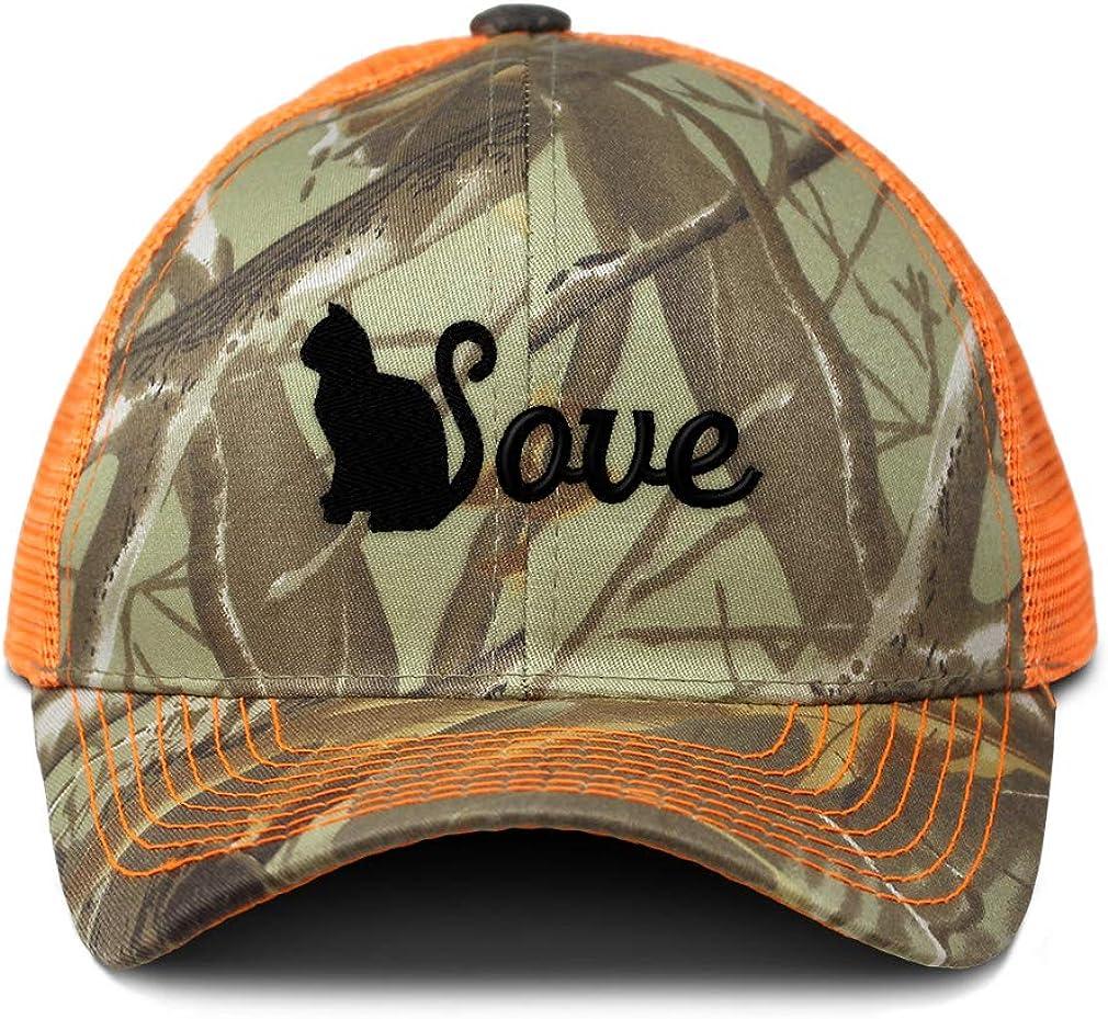 Custom Camo Mesh Trucker Hat Cat Love Silhouette Embroidery Cotton One Size