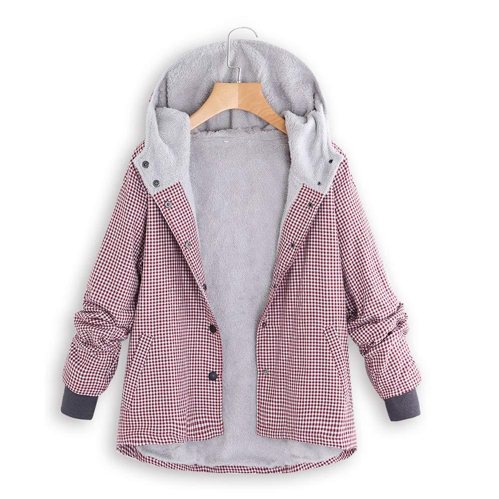 Hanomes Damen pullover, Damen Winter Warm Outwear Plaid Gitter mit Kapuze Taschen Vintage Oversize Mä ntel