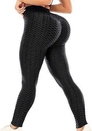 H HOME-MART Women's Honeycomb Leggings Ruched Butt Lifting High Waist Yoga Pants Chic Tights Women Sport Tummy Control Gym,Black