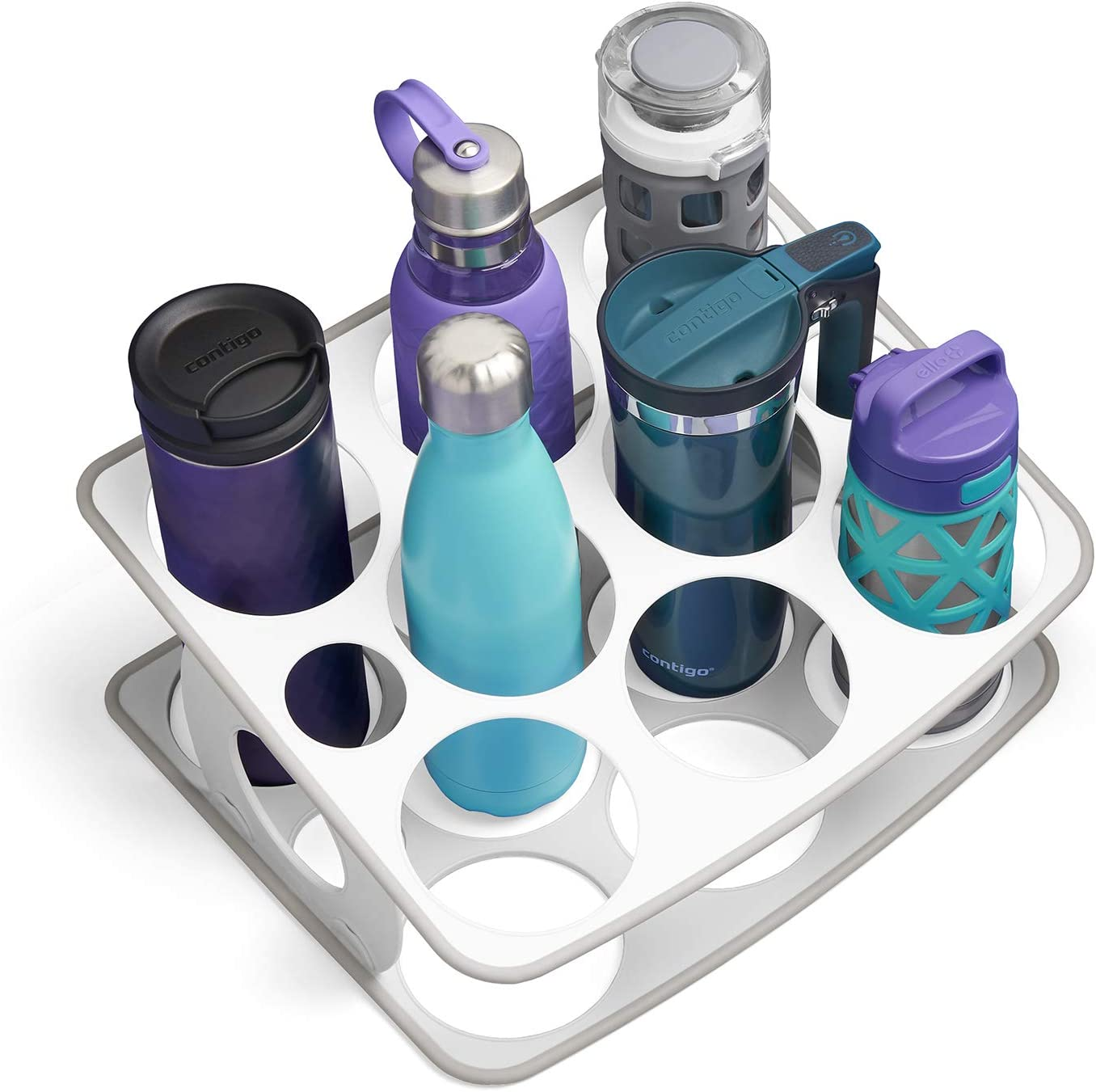 YouCopia BottleStand Travel Mug And Water Bottle, One Size, White