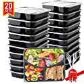 20-Pack Basa 3-Compartment Meal Prep Container