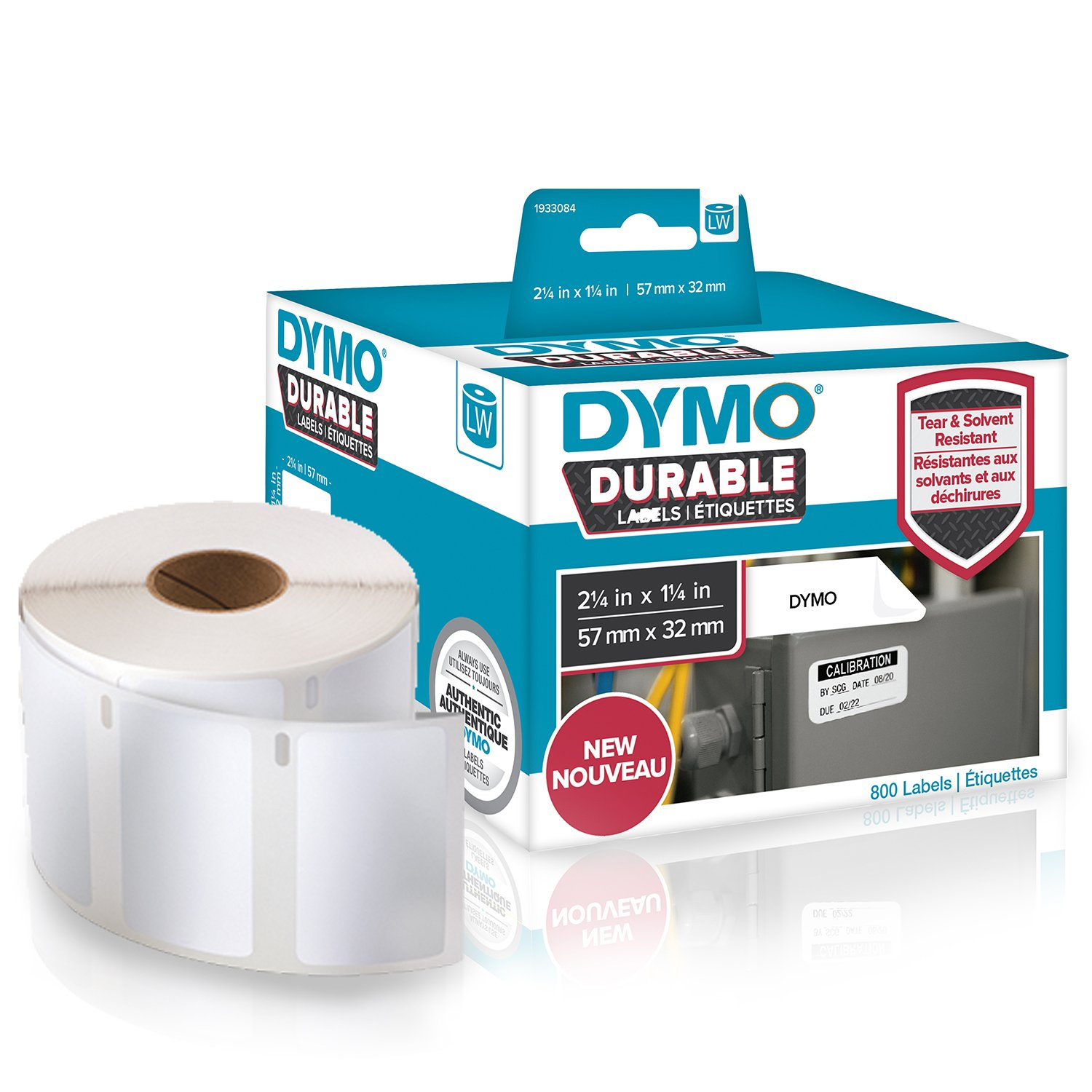"DYMO LW Durable Industrial Labels for LabelWriter Label Printers, White Poly, 2-1/4"" x 1-1/4"", Roll of 800 (1933084)"