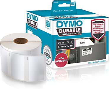 DYMO Label Writer Durable Polypropylene Label, 57mm x 32mm, White, 800 Count