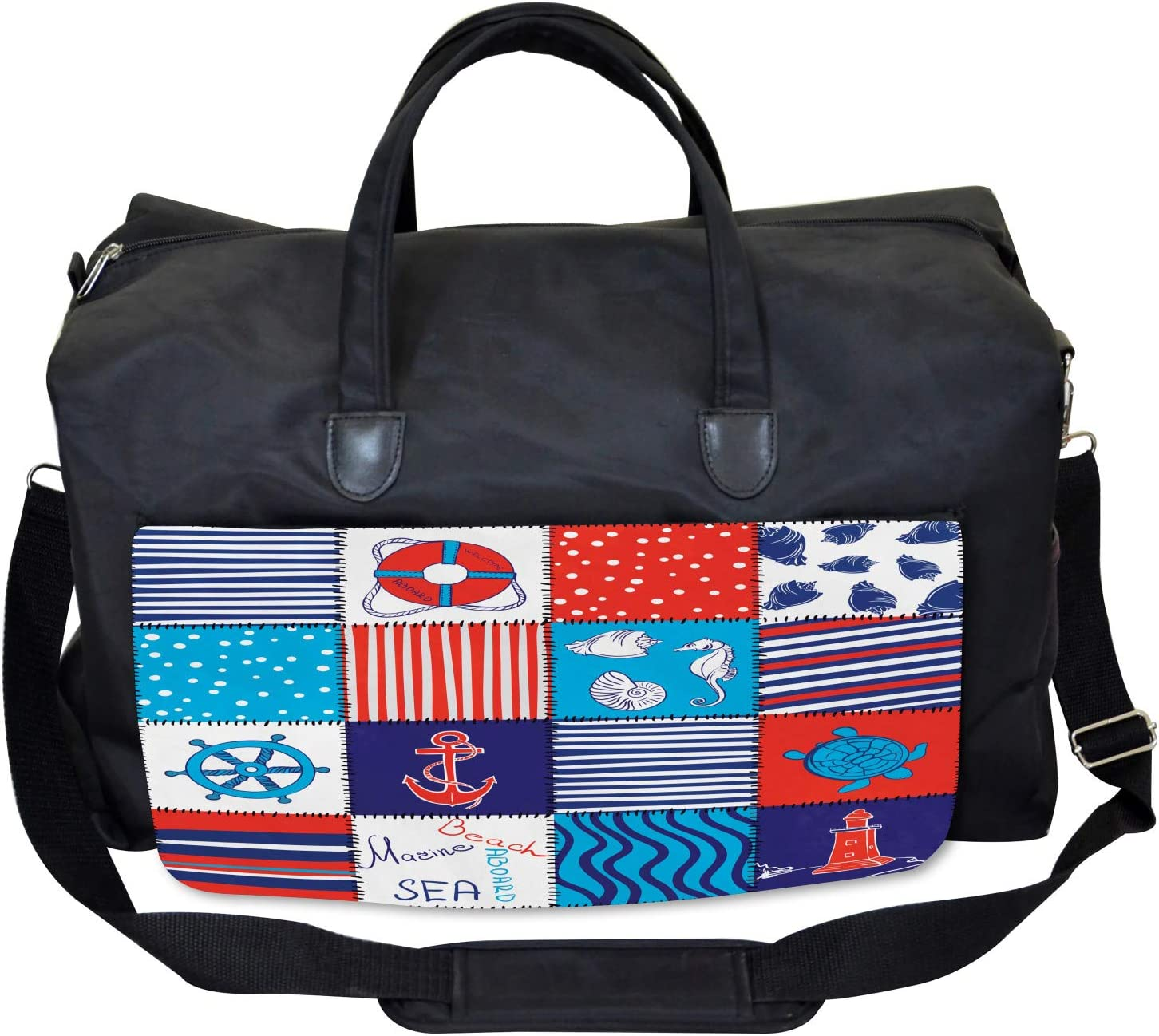 Large Weekender Carry-on Ambesonne Geometric Gym Bag Anchor Helm and Fish