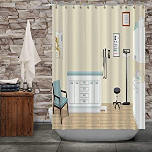Tstyrea Doctor's Office with Medical Equipment and Cabinets Illustration Office,Shower Curtain Backgrounds for Bathroom Decor 84x72in