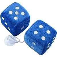 Auntwhale 1 par azul Fuzzy Plush Dice White